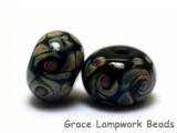 11200801 - Seven Black w/Twisted Beige Rondelle Beads