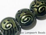 11203802 - Seven Green Pearl Surface w/Black String Lentil Beads