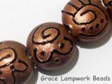 11204402 - Seven Copper Pearl Surface w/Black Swirl Lentil Beads