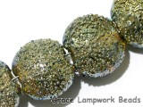 40101002 - Seven Golden Green Metallic Lentil Beads