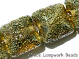40101014 - Four Golden Green Metallic Pillow Beads