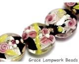 10106502 - Seven Pink/Black/Green Silver Foil Lentil Beads