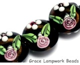 10107522 - Four Black w/White & Pink Flowers Lentil Beads