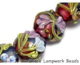 10108302 - Seven Hot Pink w/Purple Floral Lentil Beads
