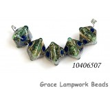 10406507 - Five Deep Ocean Blue w/Silver Foil Crystal Beads