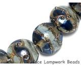 10406602 - Seven Gray Blue w/Silver Foil Lentil Beads