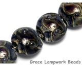 10407312 - Four Black w/Ink Blue Silver Foil Lentil Beads