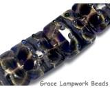 10407314 - Four Black w/Ink Blue Silver Foil Pillow Beads