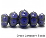 10407811 - Five Graduated Purple w/Black Dots Rondelle Beads