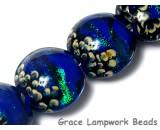 10413012 - Four Sapphire Sea Shimmer Lentil Beads