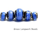 10413411 - Five Arctic Blue Shimmer Graduated Rondelle Beads