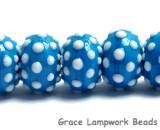 10413901 - Seven Polka Dots on Teal Blue Rondelle Beads