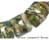 10503404 - Seven Green w/Silver Foil Pillow Beads