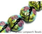 10504402 - Seven Purple Dragonfly Lentil Beads