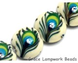 10508012 - Four Peacock Feather Lentil Beads