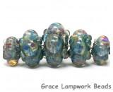 10601911 - Five Graduated Blue Boro Rondelle Beads