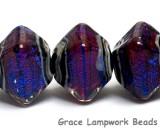 10604007 - Five Violet Shimmer Crystal  Shaped Beads