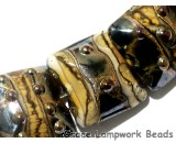 10800804 - Seven Black w/Yellow Silver Foil Pillow Beads