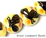 10802412 - Four Yellow Sparkle Garden Butterfly Lentil Beads