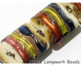 11005604 - Seven Multi-colored & Ivory Pillow Beads
