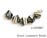 11105007 - Five Black/Ivory & Beige Crystal Beads
