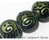 11203802 - Seven Green Pearl Surface w/Black String Lentil Beads
