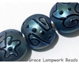 11204302 - Seven Blue Pearl Surface w/Black String Lentil Beads
