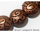 11204402 - Seven Copper Pearl Surface w/Black Swirl Lentil Beads
