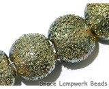 40101012 - Four Golden Green Metallic Lentil Beads