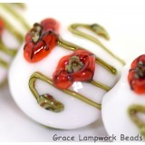 California Poppy Flower Glass Lentil Beads