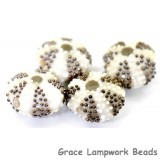 Ivory sea urchin glass beads