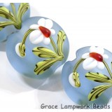 Four White Orchid Lentil Beads