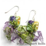 10504504 Earrings using White & Purple Flora Pillow Beads
