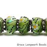 10508401 - Seven Spring Green Florals Rondelle Beads