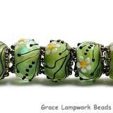 10508401 - Seven Spring Green Florals Rondelle Beads