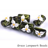 grace lampwork beads handmade artisan glass beads white iris