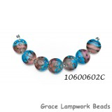 10600602C - Seven Dark Pink w/Turquoise Lentil Beads