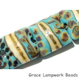 11105104 - Seven Turquoise/Ivory & Beige Pillow Beads