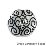 11813102 - Black & White Lentil Focal Bead