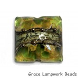 11813904 - Green w/Silver Foil Pillow Focal Bead