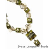 10503404 Necklace using Green w/Silver Foil Pillow Beads