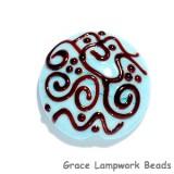 11814202 -  Turquoise w/Brown Stringer Lentil Focal Bead