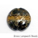 11815202 - Black w/Yellow Silver Foil Lentil Focal Bead