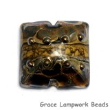 11815204 - Black w/Yellow Silver Foil Pillow Focal Bead