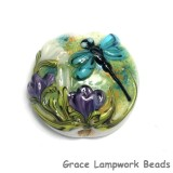11816602 - Blue Dragonfly w/Purple Flora Lentil Focal Bead