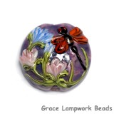 11816702 - Red Dragonfly/Violet Garden Lentil Focal Bead