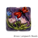 11816704 - Red Dragonfly/Violet Garden Pillow Focal Bead