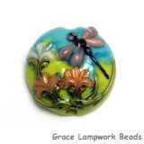 11816902 - Purple Dragonfly w/Orange Flora Lentil Focal Bead