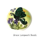 11834902 - Green Sparkle Garden Butterfly Lentil Focal Bead