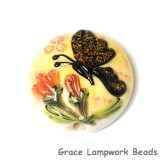 11835102 - Yellow Sparkle Garden Butterfly Lentil Focal Bead